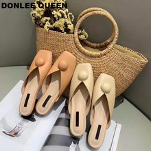 DONLEE QUEEN 19 Summer Mule Shoes Women Low Heel Slides Square Toe Half Slippers Flat Casual Loafers Soft zapatos de mujer