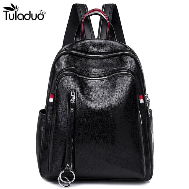 Women Black Leather Backpack With Slit Pockets Shoulders Travel Bag Fashion  Soft Back School Bags For Teens Girls mujer d18f6ea7cc