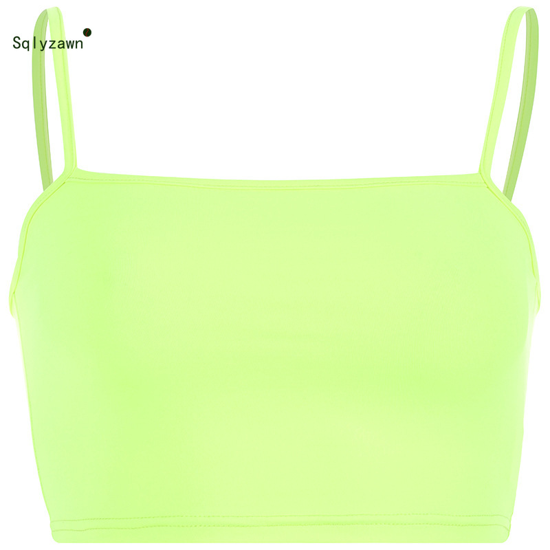 Image 5 - Sexy Fluorescent Green Pink Spaghtetti Strap Crop Tops Summer Harajuku Solid Slash Neck Camis Women Neon Streetwear Mujer-in Camis from Women's Clothing