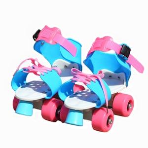 Image 5 - 어린이 두 줄 롤러 스케이트 더블 행 4 휠 스케이트 신발 조정 가능한 크기 슬라이딩 인라인 patines en linea kidsgift ib02