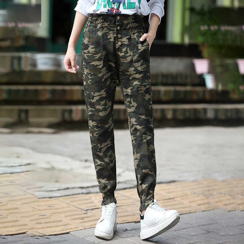 Elastic Waist Camouflage Pants High Waist Button Harem Pants Casual Girls long Trousers 2017 Spring Sweatpants Emoji Joggers