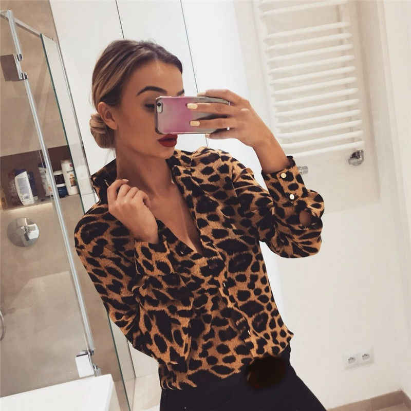 Hirigin Nieuwe Sexy Vrouwen Leopard Snakeskin Lange Mouw Losse V-hals Zomer Blouse Club Party Outdoor Shirts Tops