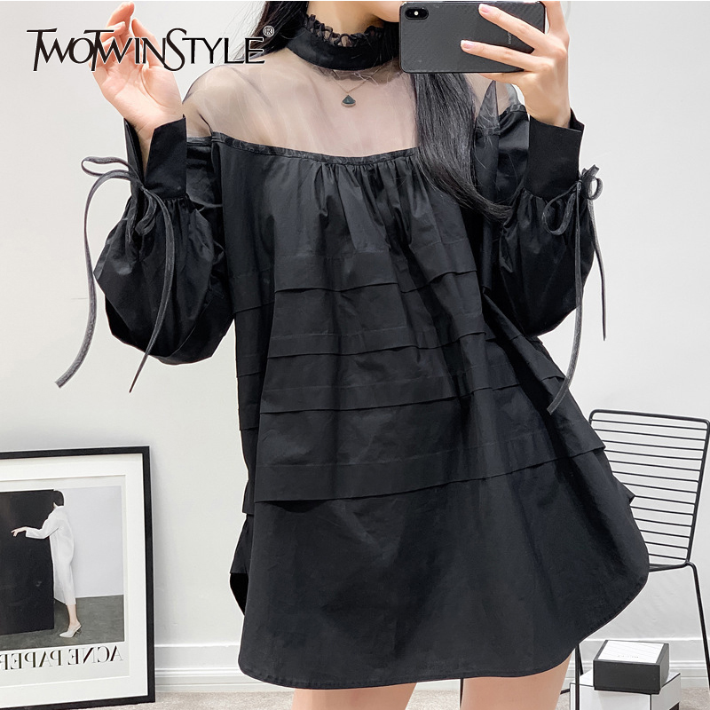 TWOTWINSTYLE Perspective Patchwork Sweet Dress For Women Bandage Bow Puff Sleeve Mini Dresses Female Spring Fashion