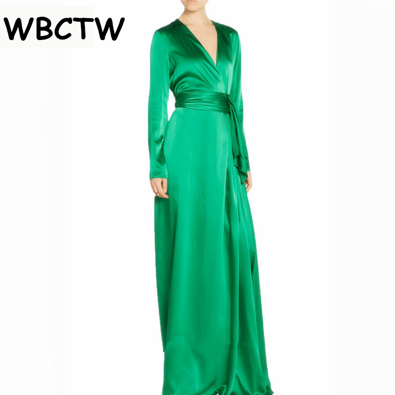 WBCTW Satin Bandage Dress Long Woman 2018 Autumn Winter Plus Size Long Sleeve Green Vintage Evening Party Maxi Dresses