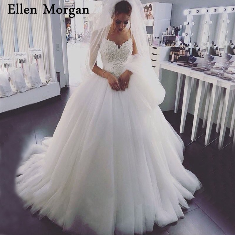 Sexy Straps Lace Ball Gowns Wedding Dresses Corset Sweetheart Court Train Custom Made Ivory Summer Elegant Puffy Bridal Gowns