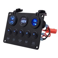 LED 5 Gang ON OFF Toggle Marine Car Switch Control Panel Dual USB 12V For Car Boat Bus Vehicle Universal