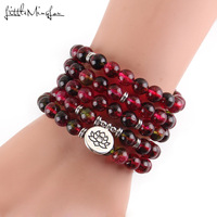 New Women's bracelets bangles Red Fluorite beads with Lotus OM Buddha Charm Yoga Bracelet 108 mala Phantom Crystal necklace