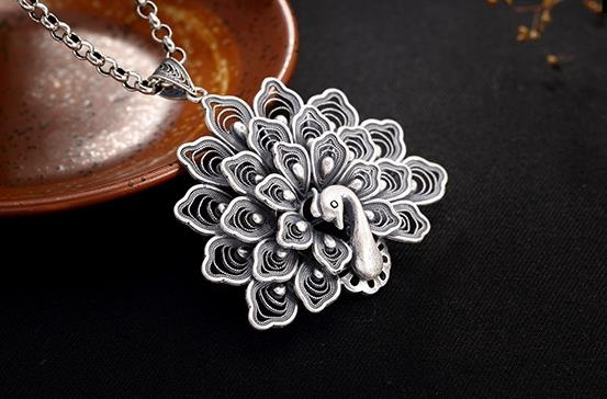 Sterling S990 990 silver Necklace Peacock vintage pendant charm 47*50MMSterling S990 990 silver Necklace Peacock vintage pendant charm 47*50MM