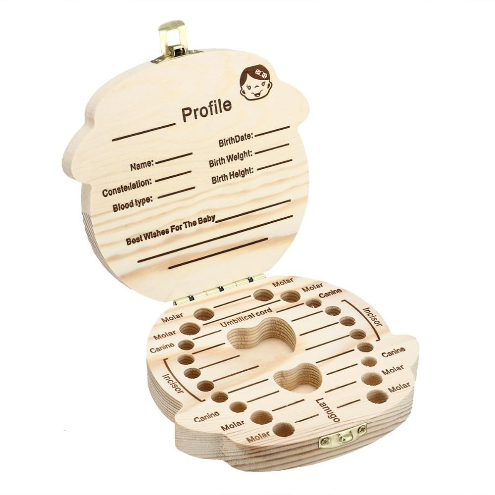 Wood Baby Tooth Box Organizer Milk Teeth tanden doosje Collect Teeth Cord Lanugo caja dientes de leche tooth box caja dientes