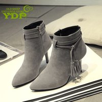 YDP Women's Booties Autumn New Tube Pointed Women's Boots Stiletto Suede Tie Tassel Decorative High Heel Women's Shoes Size35 39