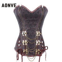 AONVE Steampunk Women Corsets And Bustiers Corsages Brown Gothic Bustier Zipper Plus Size Belly Slimming Sheath S 6XL