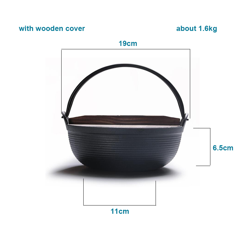 Cast Iron Soup Stew Stock Pot With Wood Cover 19 cm 4