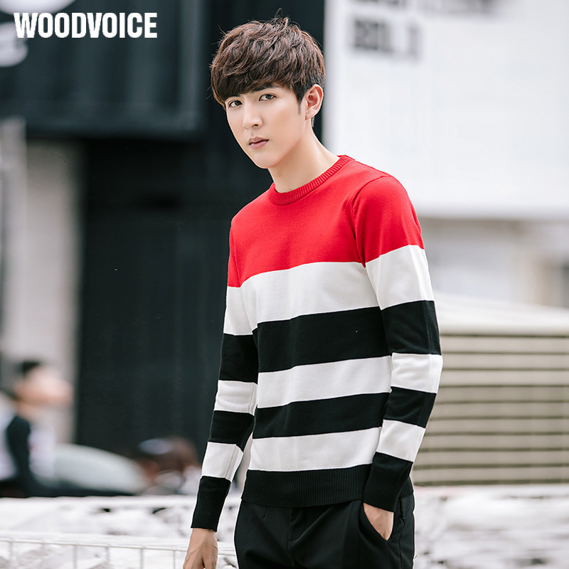 Woodvoice Brand 2017 New Fashion Casual Sweater O-Neck Striped Slim Fit Knitting Mens Sweaters And Men Pullovers Big Size M-5XL