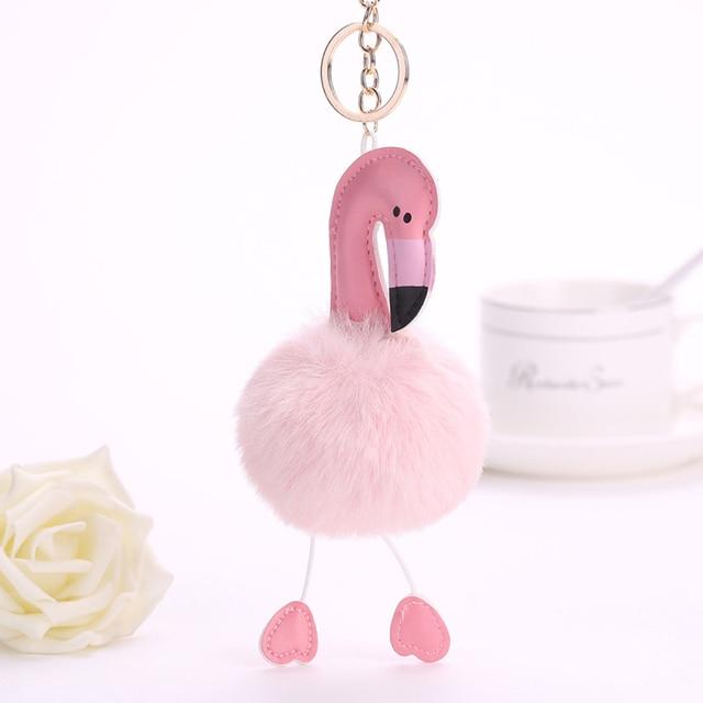 Flamingo Chaveiro keychain bonito Chaveiro Pompom Fofo Falso Bola de Pêlo de Coelho Mulheres Saco Pompom Acessórios Anel Chave Do Carro