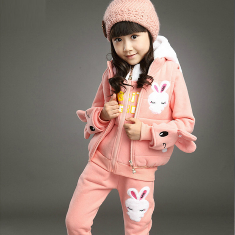 Girl 's clothing children' s autumn and winter clothes 4-12 year old children 's suit thickening three piece sets