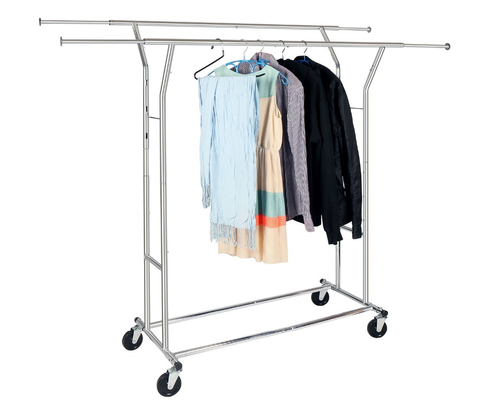 HLC Adjustable Commercial Grade Clothing Garment Rack Chrome Halloween Christmas Xmas Gift Rolling Garment Rack Home