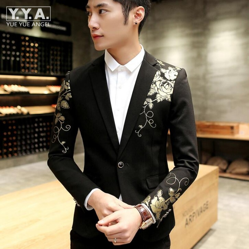 Floral Print Men's Casual Blazer Slim Fit Blazer One Button Coat Black Fashion Mens Suit Top Quality Mens Blazer Terno Masculino