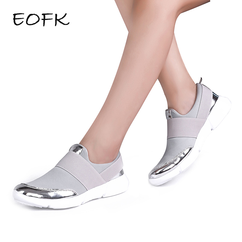 EOFK New Design Women Casual loafers Fabric Flat Shoes Woman slip on Flats Ladies Shoes Women's moccasins chaussure femme