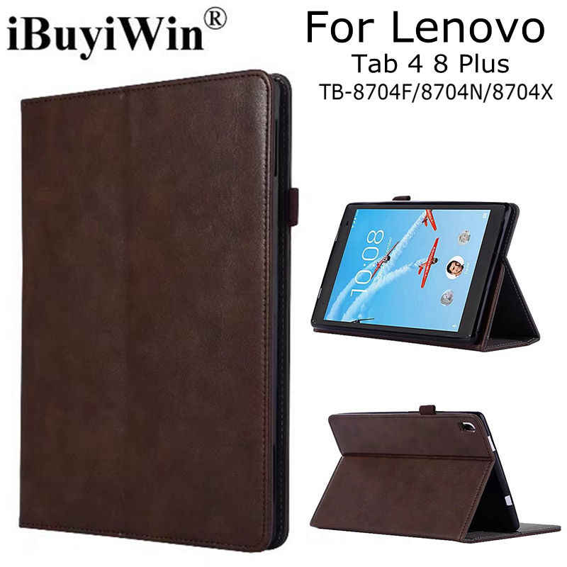 "Luxe Magnetische Smart PU Leather Case voor Lenovo Tab 4 8 Plus TB-8704F/8704N/8704X8.0"" tablet Funda Cover + Gratis Screen Film + Pen"