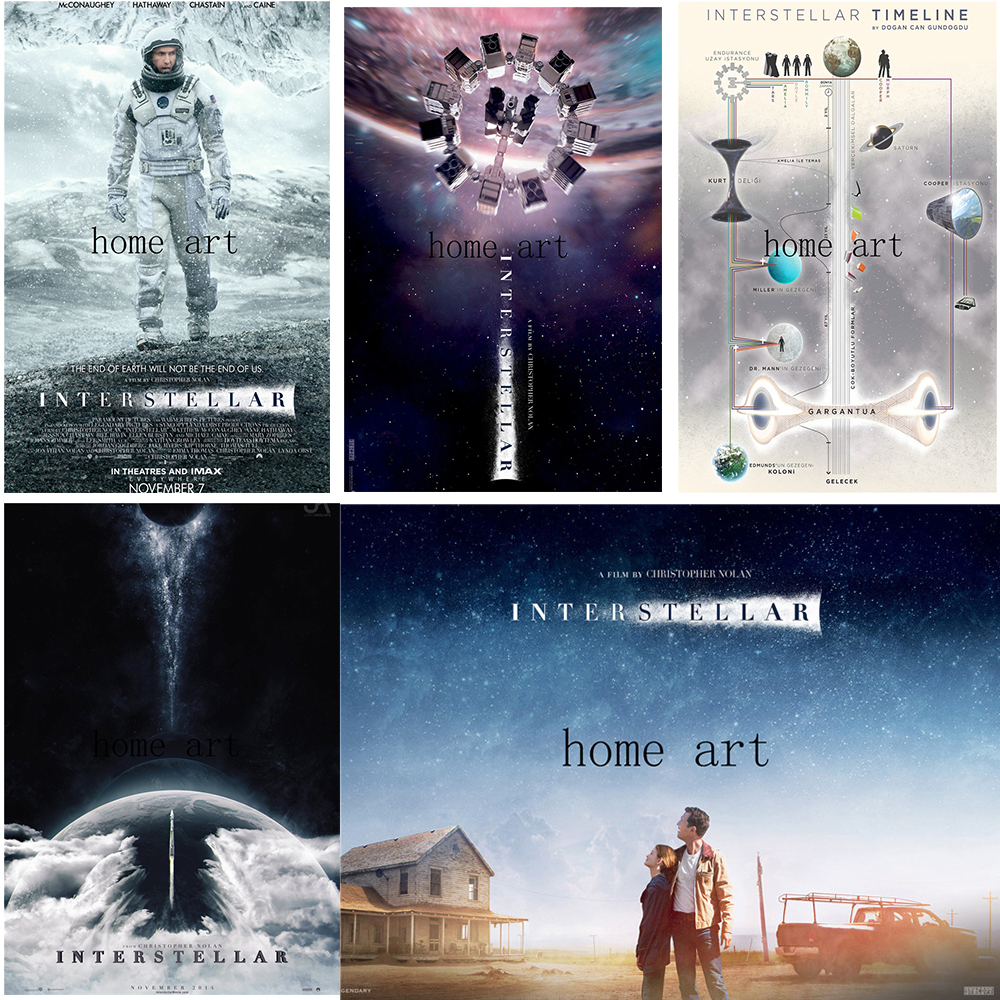 science fiction film interstellar movie poster clear image wall stickers home decoration good quality prints white coated paper