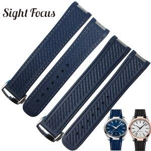 20 мм резиновый ремешок для часов Omega Seamaster 8900 Новинка 300 Aqua Terra AT150 застежка ремешок для часов синий черный браслет Correas
