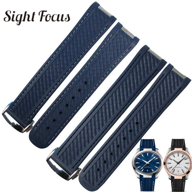 20mm Special End Rubber Watch Band For Omega Seamaster 300 Aqua Terra 150 Strap Blue Black