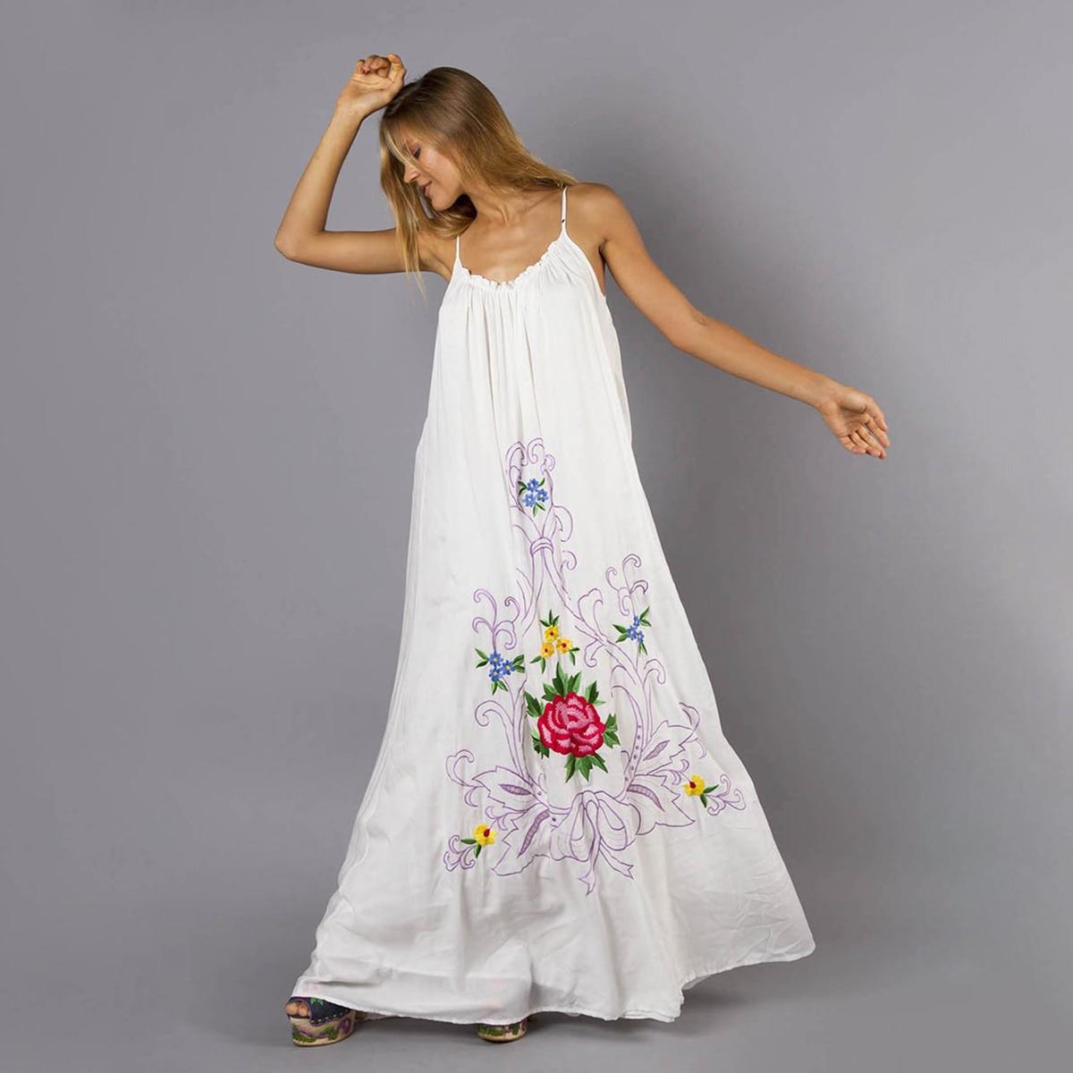 Blanc Floral broderie Maxi robe femmes sans manches col en V sangle Sexy robes 2019 vêtements d'été Boho plage fête longue robe