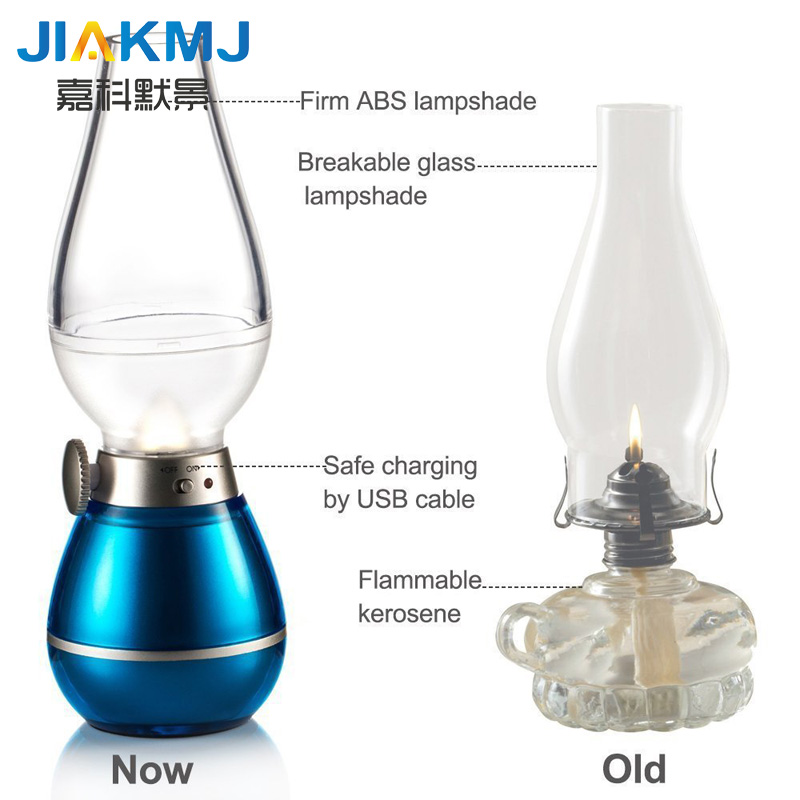 Creative Led Electronic Kerosene Lamp Blowing Lamp Usb Bedside Dimming Night Light Retro Blowing Kerosene Lamp