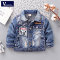 2016 autumn and winter fashion children's coat boy washed denim jacket pocket hole denim jacket letter