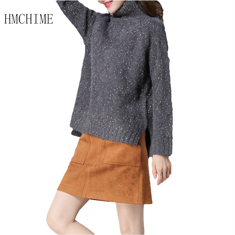 Thiken Keep Warm Women Wool Sweaters Autumn Winter Turtleneck Long Sleeve Ladies Knitted Shirts Front Short Back Long Sweater