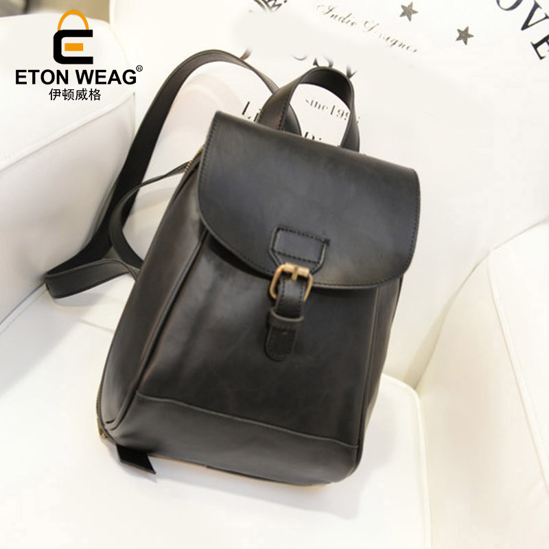 ETONWEAG Famous Brands PU Leather Backpacks For Teenage Girls Black Vintage Schoolbag Backpack Preppy Style Travel School Bags