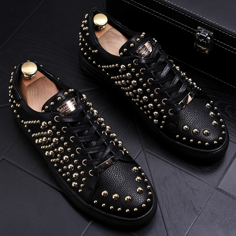 Stephoes New Men Fashion Casual Shoes Spring Autumn Rivets Punk Style Shoes Male Personality Leisure Shoes Breathable Loafers
