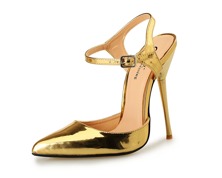 c1a07bce0279 2017 New Arrival Silver Extreme High Heels 14CM Women s Sex Pump Shoes Sexy  Fetish Metal Heels Sexy Ankle Strap Pumps Size 40 49-in Women s Sandals  from ...