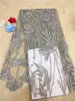 Nigerian Lace Fabrics For Wedding 2019 Latest Sequins Lace Promotion African Lace Fabrics with Sequins Women Dress Material X3