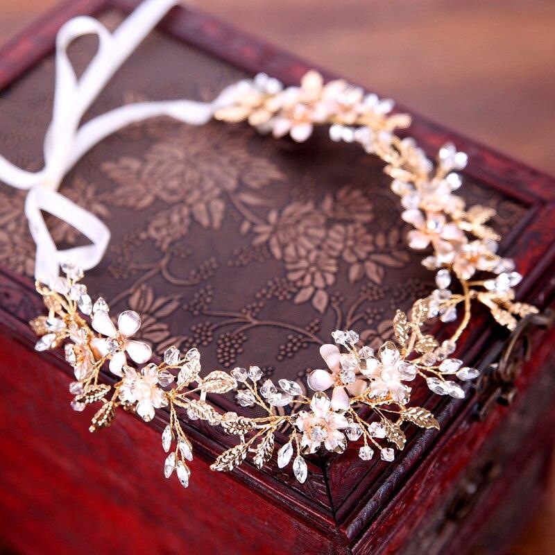 Bohemian Headpiece Headbands Hair-Accessories Vine Halo Leaf-Crown Crystal Bridal-Hair
