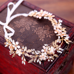 Bride Headbands wedding hair accessories Bridal Hair Vine Bohemian Headpiece Crystal Halo Hairband Gold color Leaf crown