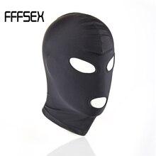 FFFSEX Exotic Accessories Fetish Slave BDSM Bondage Restraints Sex Mask Mouth Eye Open Head Harness Blindfold for Couples