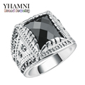 YHAMNI Unique Black Ring Silver Plated Black Crystal Stones Fashion Jewelry Rings for Women ARJ0052