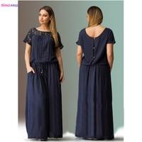 HANZANGL Plus Size Women Clothing Summer Short Sleeve Lace Full Dress Women Casual Dress Long Dress