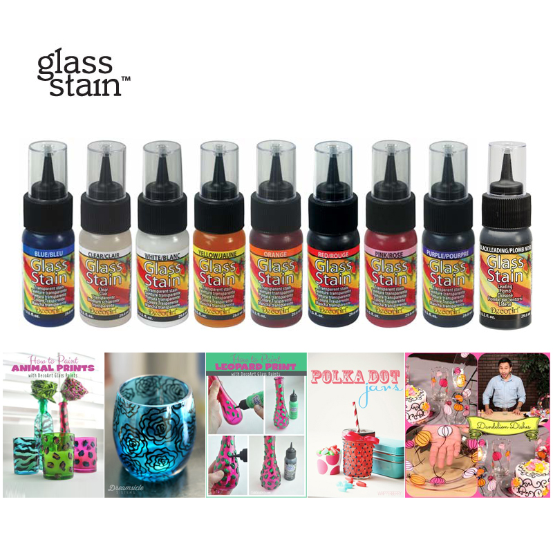 USA  Imported 11colors Acrylic Transparent Glass Paint GLS  Pigment Coloring Children DIY Glass Cup Plate Vase Non-toxic