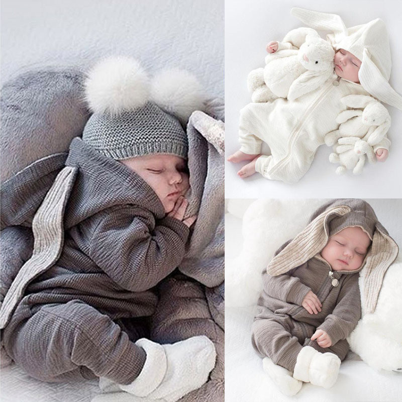 Rabbit Ear Baby Rompers Autumn Thicken Winter Girls Jumpsuit For Boys Knitted Sweater Baby Costumes Baby Pajama clothes 0-3T warm thicken baby rompers long sleeve organic cotton autumn