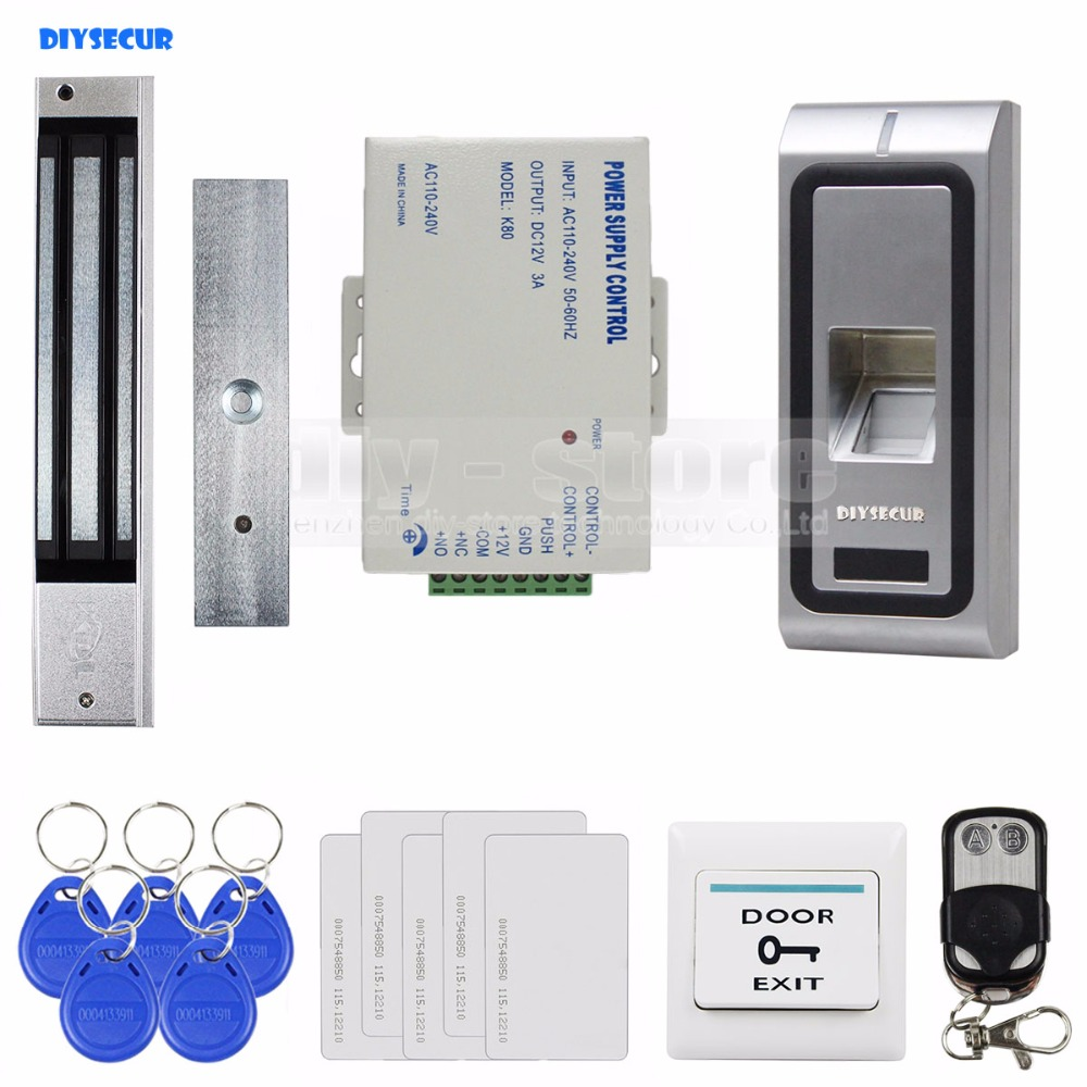 DIYSECUR Fingerprint 125KHz RFID ID Card Reader Metal Case Door Access Control System Kit + 280kg Magnetic Lock + Remote Control diysecur remote control rfid keypad door access control security system kit 280kg magnetic lock for home office b100