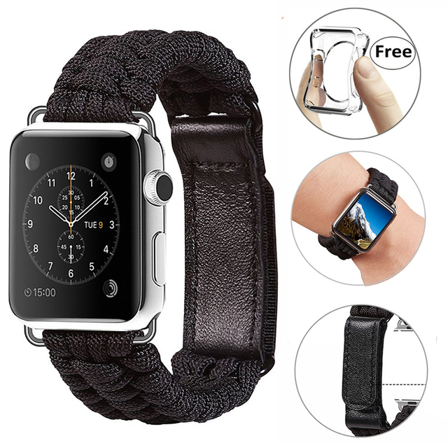 release date 627ad 50ec2 US $8.99 |Paracord Wristband With Leather Adjustable Clasp + Free TPU Case  for iPhone Apple Watch Series 3 2 1 Wristband Adventure First -in Phone ...