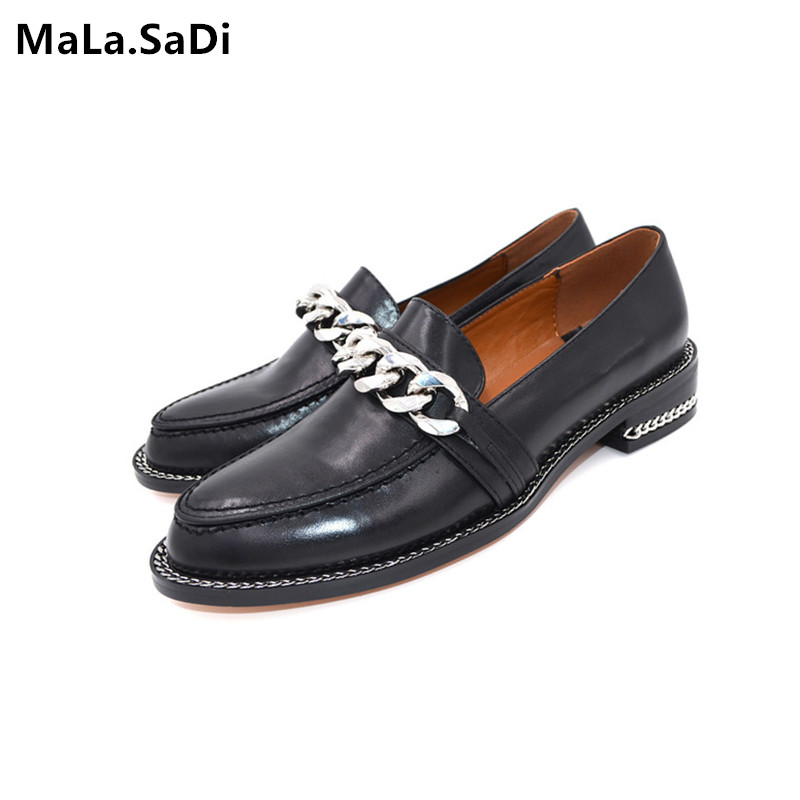 Spring New Fashion High Quality Genuine Leather Casual Shoes Women Metal Chain Decor Flats Heels Round Toe Concise Loafers Shoes