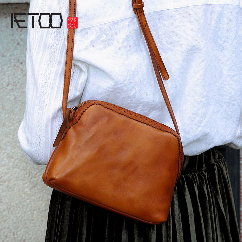 AETOO The original original culture retro color wiping the first layer of leather cowhide shoulder Messenger shells small leathe culture of professionalism paper