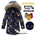 2016 Novo Monstro impressão Meninos Inverno Longo Para Baixo Casacos Outerwear casacos de Moda Grande Gola De Pele Grossa Pato Branco Quente Para Baixo 4-10Y