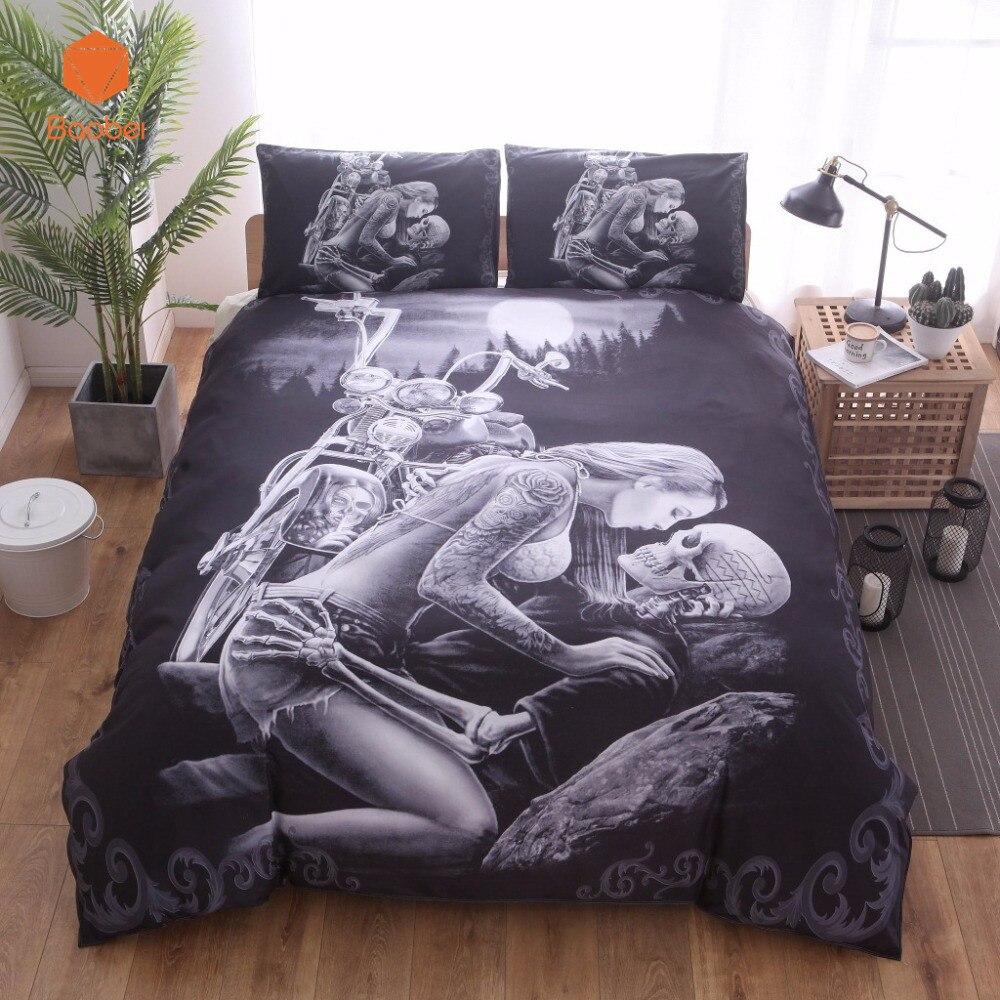 New 3D Black Motorcycle Skull Printed Duvet Cover Set 2/3pcs Single Queen King Bedclothes Bed Linen Bedding Sets No sheet SJ126