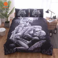 New 3D Black Motorcycle Skull Printed Duvet Cover Set 2/3pcs Single Queen King Bedclothes Bed Linen Bedding Sets No sheet SJ126