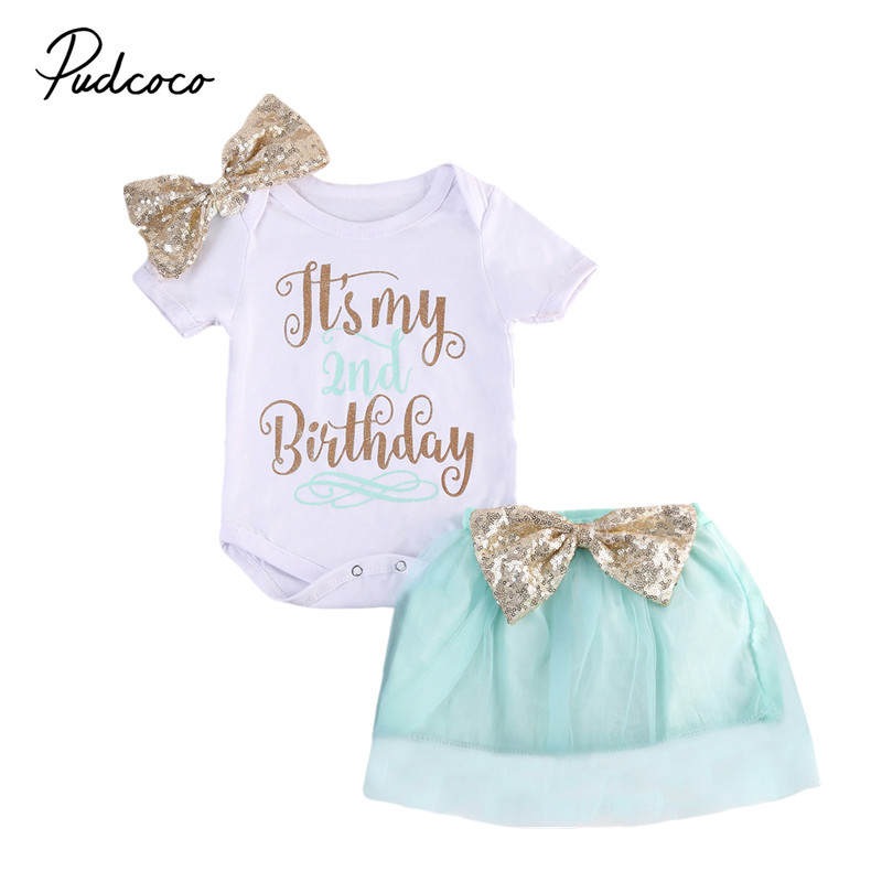 2017 Brand New 2Pcs Birthday Newborn Toddler Infant Baby Girls Romper Skirt Jumpsuit Cute Outfits TuTu Clothe Princess Sets Gift puseky 2017 infant romper baby boys girls jumpsuit newborn bebe clothing hooded toddler baby clothes cute panda romper costumes