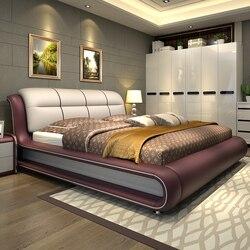 سرير أثاث غرفة نوم حديثة مع جلد طبيعي M01
